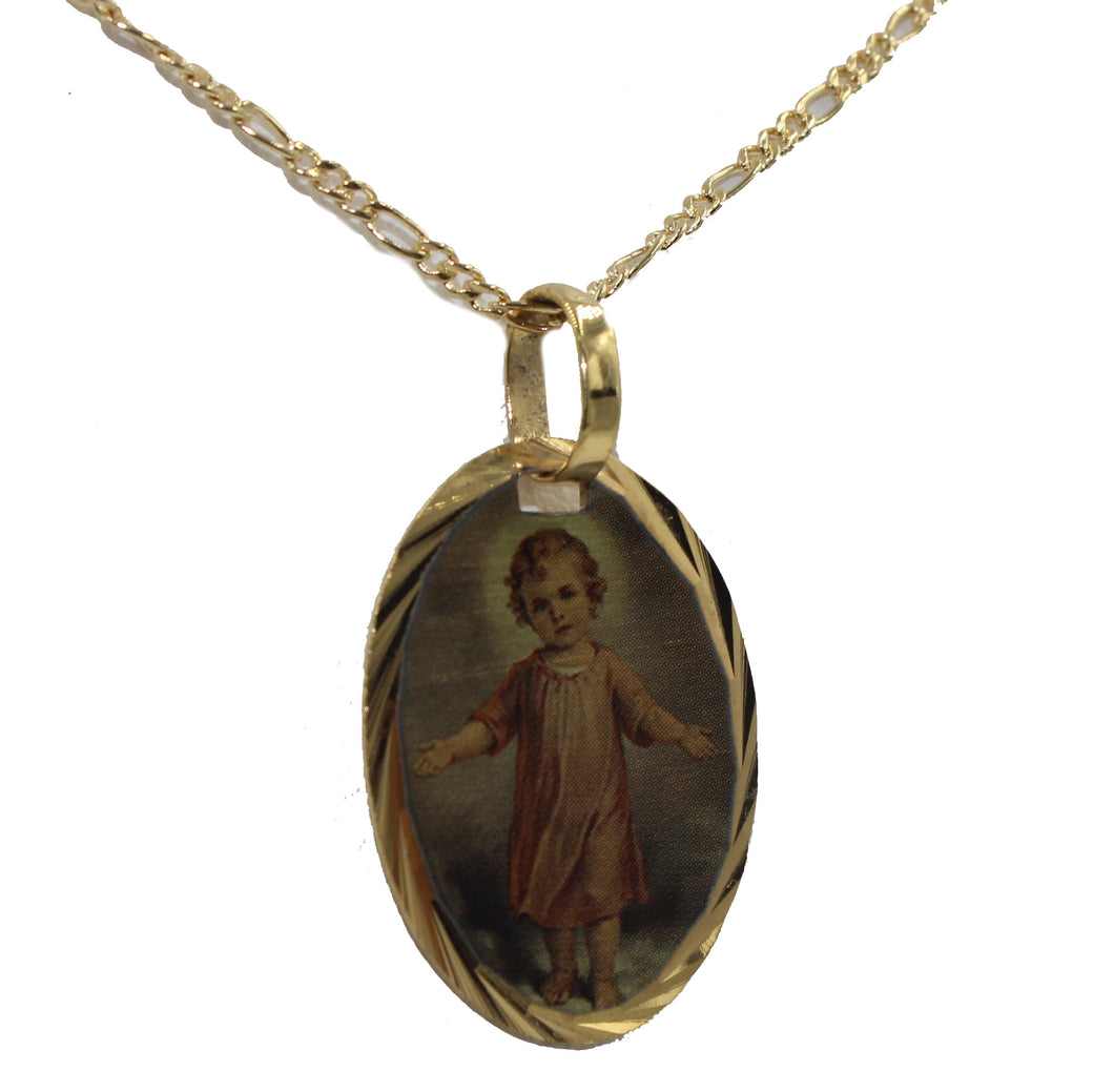 Divino Niño Jesus Oval Medal 14k Gold Plated Pendant with 18 inch Chain - Jesus