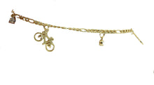 Bike Charm Bracelet 18K Gold Plated Bracelet 7 inch - Bicycle Bracelet 7 inch