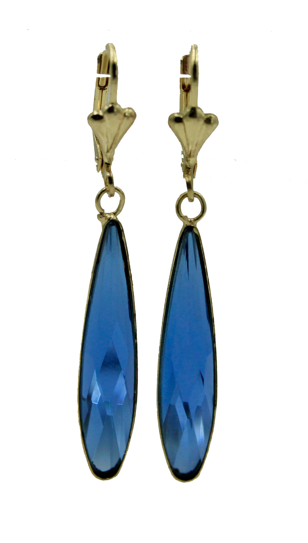 Blue Long Drop Leverback Dangle Earring 18k Gold Plated French Clasp - Blue Drop