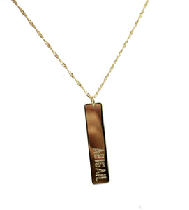 Bar Personalized Pendant 14k Yellow Gold Pendant - Bar Personalized Charm 14k
