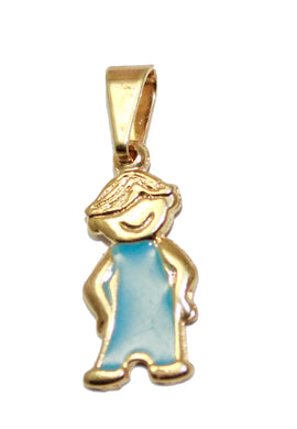 Boy Blue Pendant with 20 inch Figaro Chain 18k Gold Plated Pendant - Boy Necklace