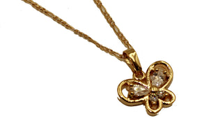 Butterfly CZ Charm Pendant 18k Gold Plated - Butterfly Necklace Fashion Necklace