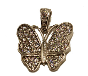 Butterfly with CZ .925 Sterling Silver Charm - Mariposa Pendant .925 Silver