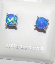 Opal Blue Stud 5mm .925 Sterling Silver Push Back Earrings - Opal Blue Silver Studs