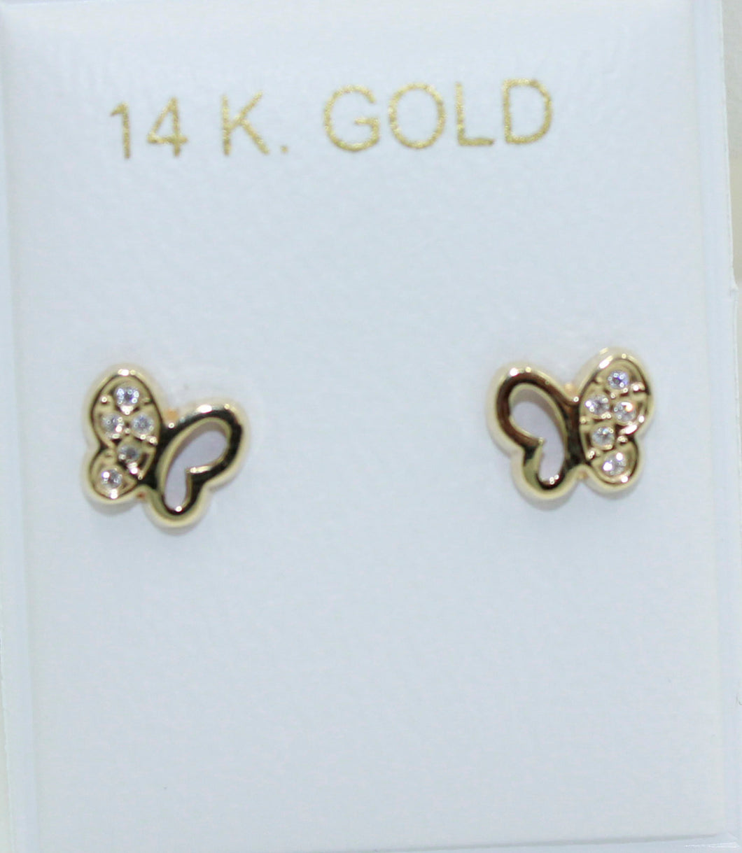 Butterfly with Cubic Zirconia 14k Yellow Gold Screw Back Earrings - Butterfly