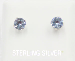 4mm Blue Sapphire CZ Stud Earrings .925 Sterling Silver - Light Blue 4mm Stud