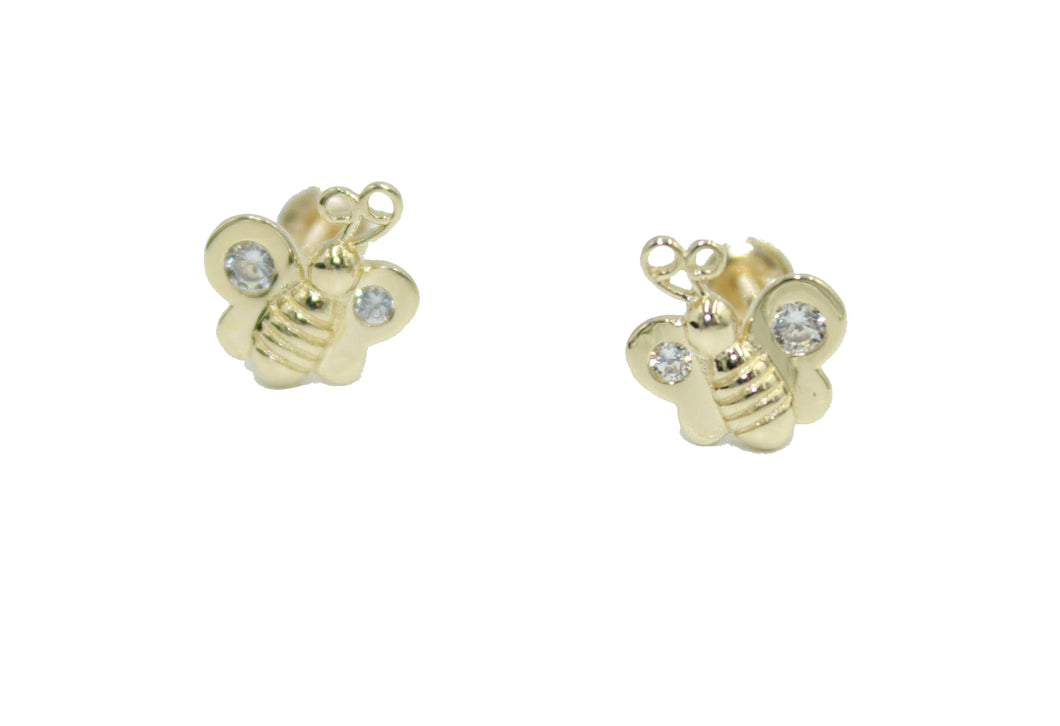 Butterfly 14k Yellow Gold with CZ Screw Back Earrings - Butterfly with CZ Stud