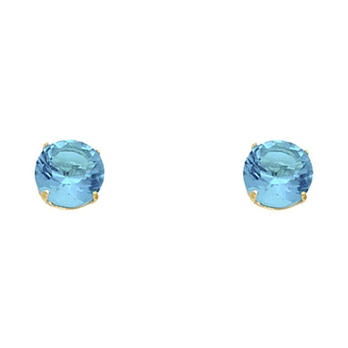 Turquoise CZ 14K Solid Yellow Gold  Screw Back Earring - December Earring