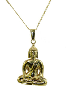 Buddha Pendant 18k Gold Plated Pendant with 22 inch Chain - Buddha Necklace