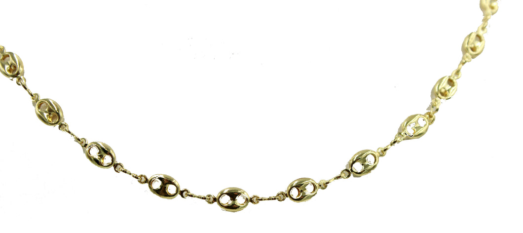 Round Disc Link Chain Choker 16 to 20 inch 18k Gold Plated