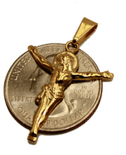 Jesus Christ Pendant - Crucifix Pendant 18k Gold Plated Medal with 20 inch Chain