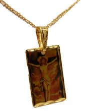 Crucifix  Square Medal Pendant 18k Gold Plated Medal with 20 inch - Crucifix