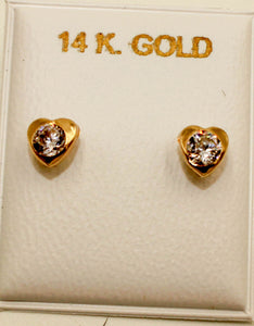 Heart with Cubic Zirconia 4mm 14k Solid Yellow Screw Back Earrings - 4mm Heart