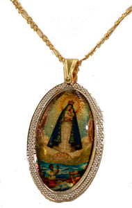 Caridad del Cobre Medal Yoruba Pendant 18K Gold Plated Necklace with 20 inch