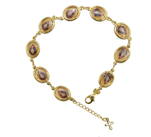 Caridad del Cobre Medal Bracelet with Cross 18k Gold Plated Adjustable Bracelet
