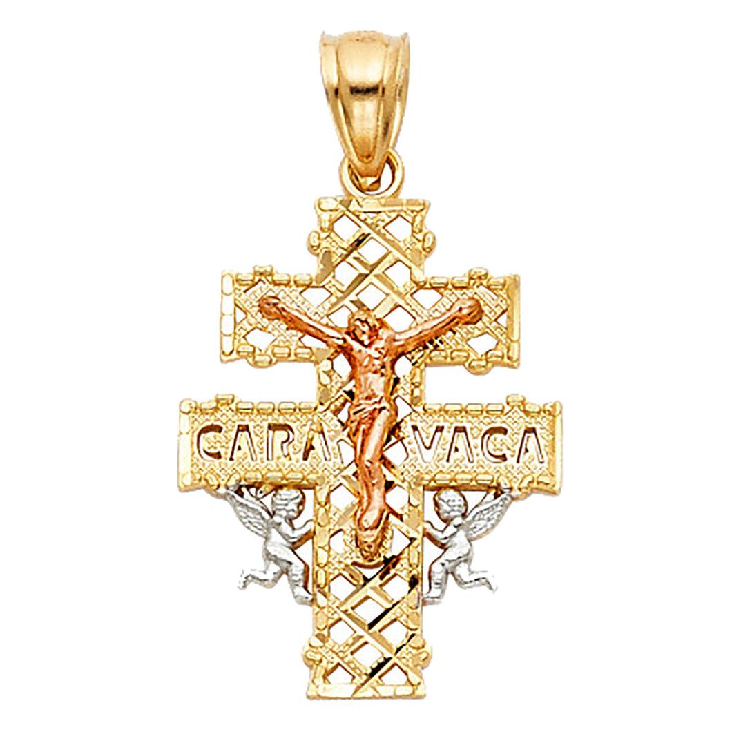 Caravaca Cross 14k Solid Three Tone Gold Pendant - Caravaca Cross 14k Gold