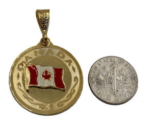 Canada Flag Pendant - Canada Flag Dije 18k Gold Plated with 22 Inch Chain