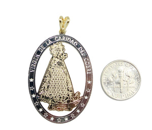 Caridad del Cobre 18k Gold Plated Medalla Pendant with Chain - Yoruba Medal
