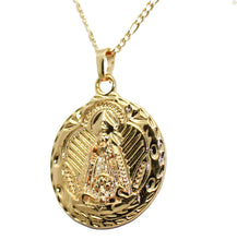 Virgen de la Caridad del Cobre 18k Gold Plated Pendant with 22 inch Chain