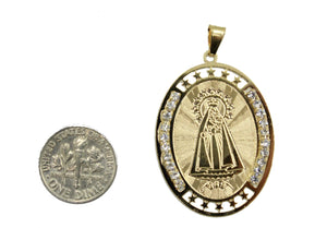 Virgen Caridad Del Cobre Our Lady of Charity Yoruba Pendant 18k Gold Plated Medal with 20 inch Chain