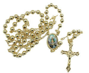 Caridad del Cobre Rosary 18k Gold Plated 24 inch - Our Lady of Charity Rosary 24 inch