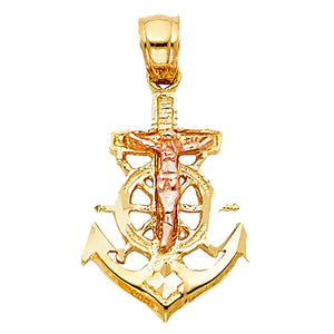 Crucifix Anchor Pendant 14k Yellow Gold Pendant - Anchor 14k Gold Charm
