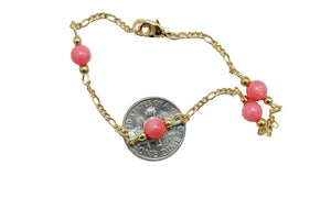 Coral 5mm Ball 7 inch Bracelet 18k Gold Plated - Coral  Ball Bracelet