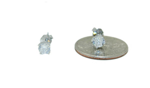 Cubic Zirconia 4mm Round Basket .925 Sterling Silver Stud Earrings - 4mm Stud