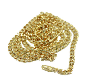 Curb Link 3mm 24inch Chain 18k Gold Plated - Curb Link Chain width 3mm 24 inch