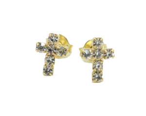 Cross CZ Stud Earrings - Cross Stud Earrings 18k Gold Plated with Cubic Zirconia