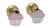 Pink Cupcake 14k Solid  Yellow Gold Earring Screw Back - Pink Cupcake Screw Back Stud Earring