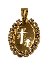 Cross Oval Pendant with Rhinestone 18k Gold Plated Medal with 20 Inch Chain
