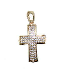 Cross CZ Pendant  Pendant 18K Gold Plated with 18 inch Chain - Cross Necklace