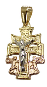 Caravaca Cross Pendant Three Tone 18k Gold Plated with 22 inch Figaro Chain