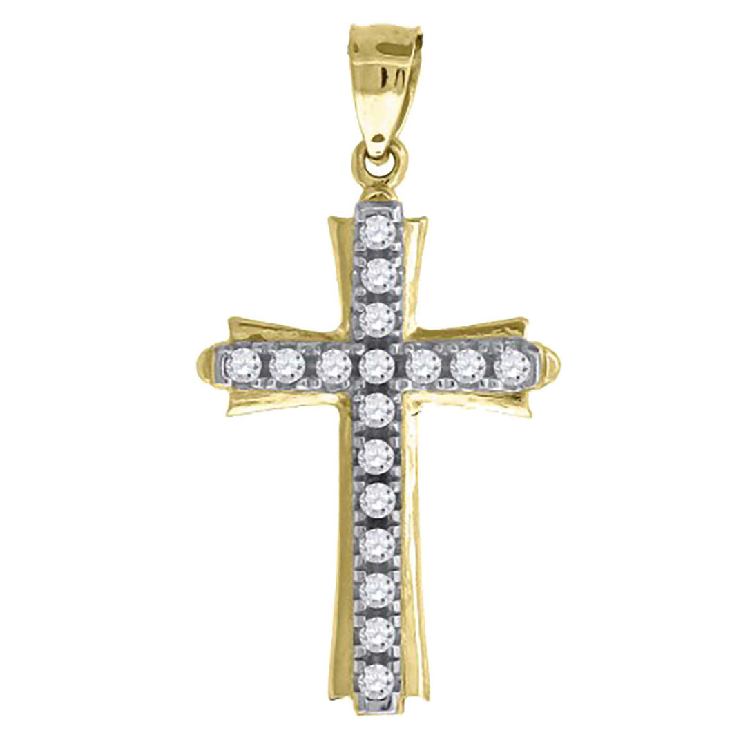 Cross with CZ 14k Yellow Gold Pendant - 14k Yellow Gold Cross CZ Pendant
