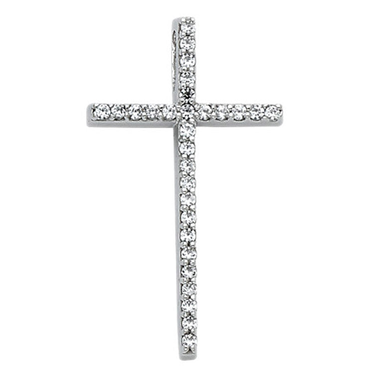 Cross with CZ Pendant 14k Solid White Gold - 14k Solid White Gold Cross