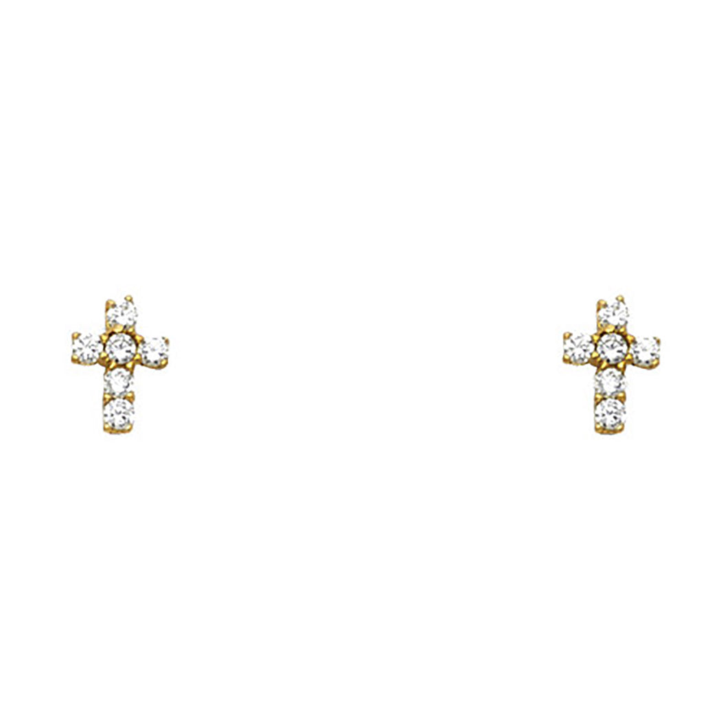 Cross CZ Screw Back Earrings 14k Yellow Gold - Cross Cubic Zirconia Screw Backs