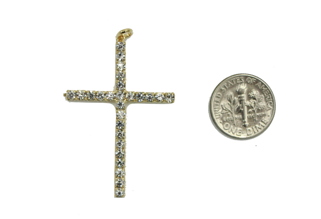 Cross with CZ Pendant Pendant 18K Gold Plated with 22 inch Chain - CZ Cross