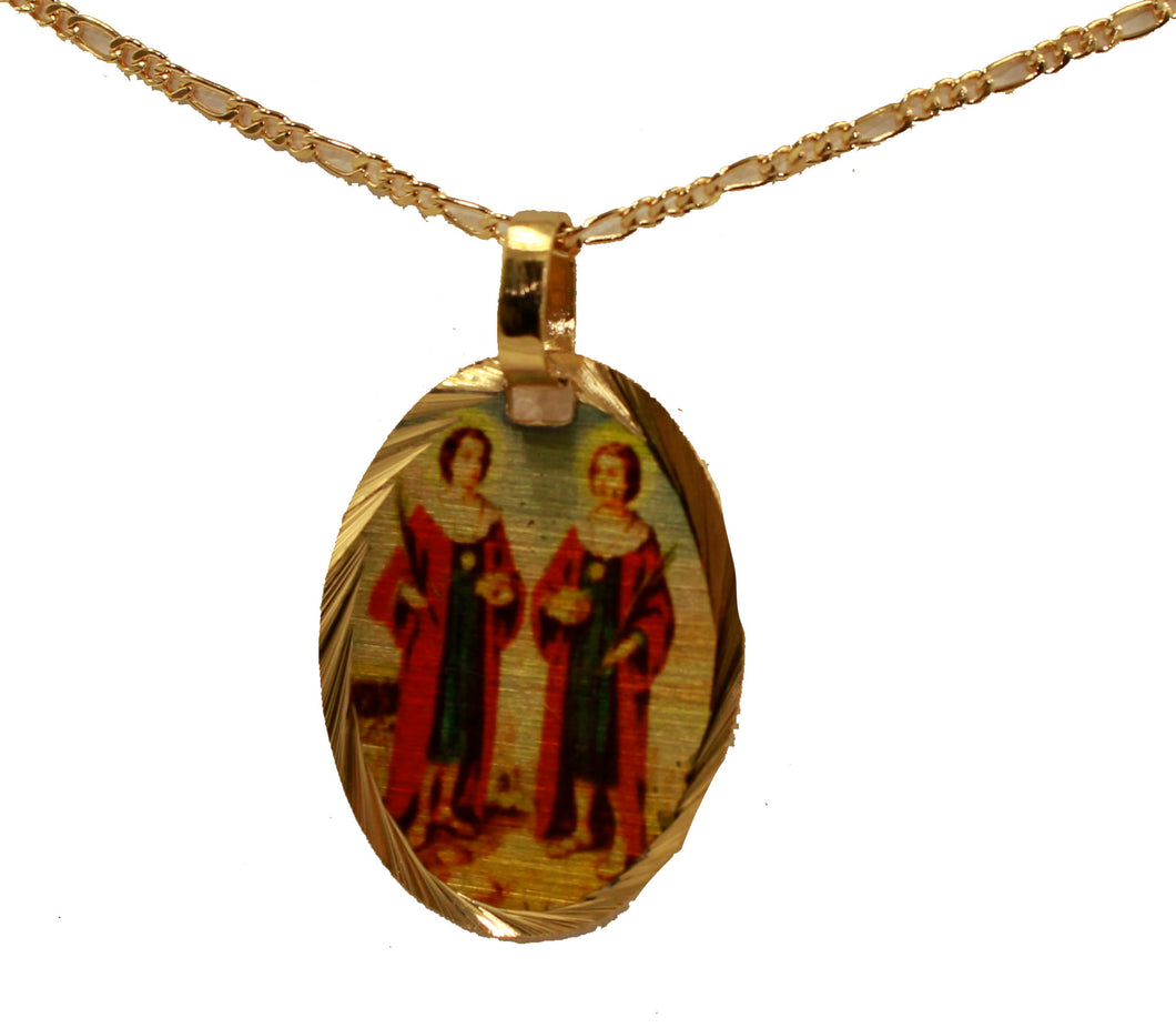 San Cosme & San Damian 14k Yellow Gold Plated Medal with Chain