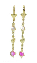 Heart Multicolor Valentine's Earring 18k Gold Plated Dangle Earrings - Heart Dangle Earrings