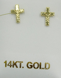 Crucifix Cross Screw Back Earrings 14k Yellow Gold - Crucifix Cross Screw Backs