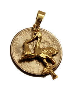 Stork Baby Nursery Charm 18K Gold Plated with 20 inch Chain - Stork Baby Pendant