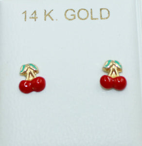 Cherry 14k Yellow Gold Screw Back Earrings - Cherry 14k Gold Screw Backs