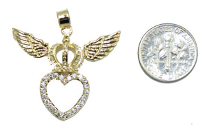 Crown of Hearts with CZ Pendant 18k Gold Plated Medal with 20 Inch Chain