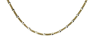 Curb Flat  Link 3mm 20 inch Chain 18k Gold Plated - Curb Link Chain Width 3mm