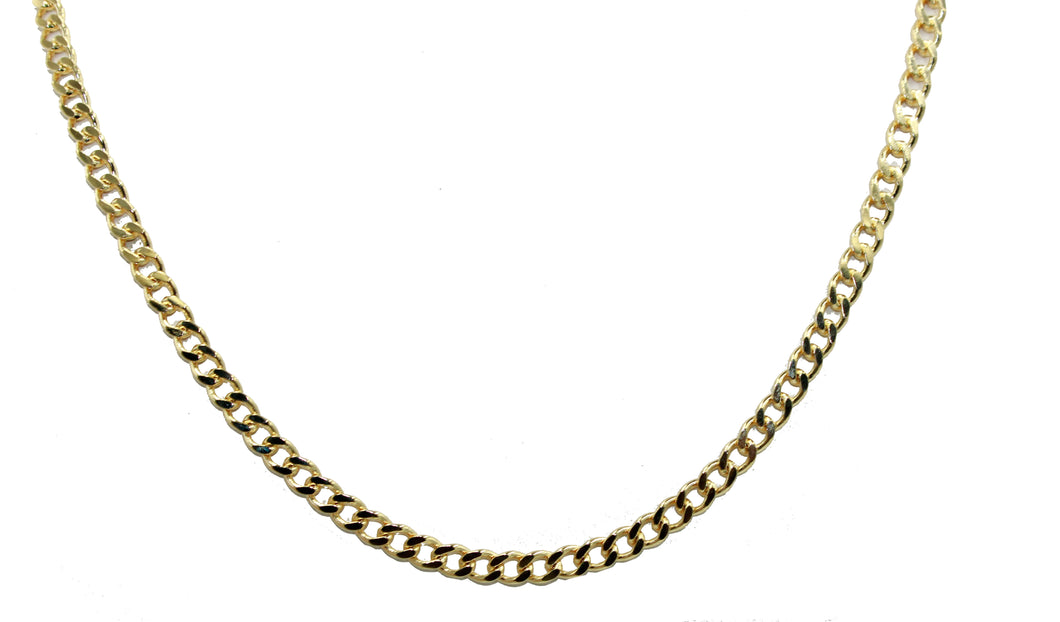 Curb Link 5mm 24 inch Chain 18k Gold Plated - Curb Link Chain Width 5mm 24 inch