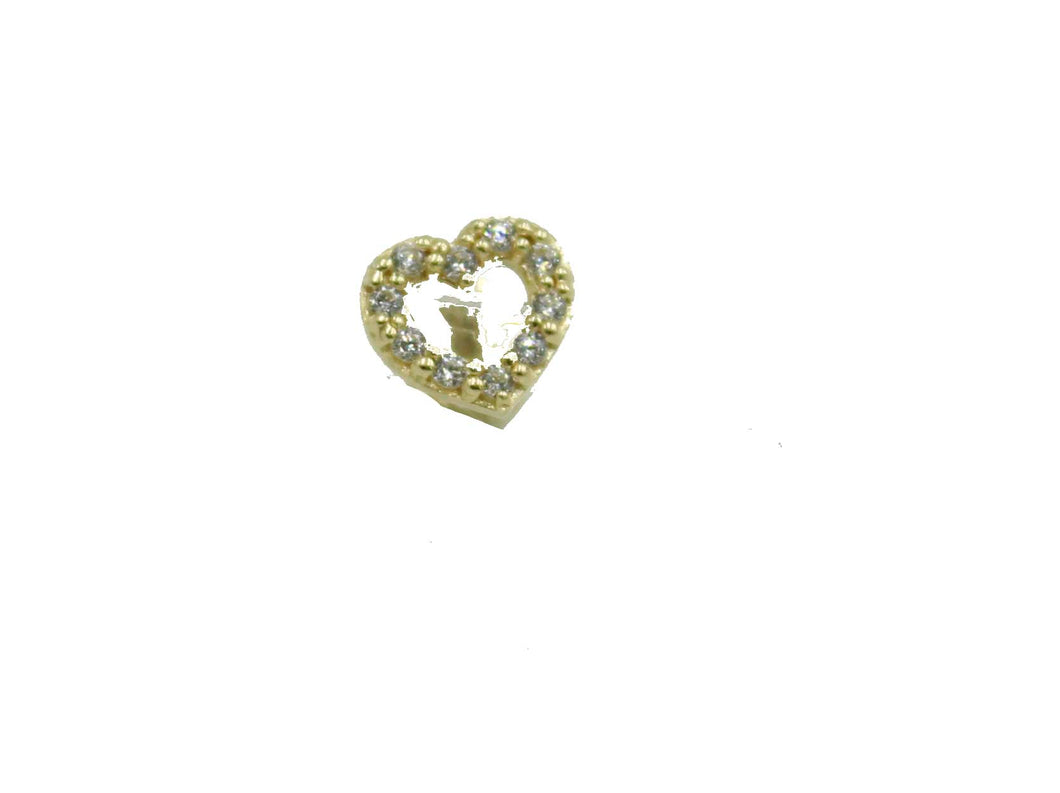 Heart CZ 14k Yellow Gold Tragus Earring Cartilage Helix Barbells Auricle Rings