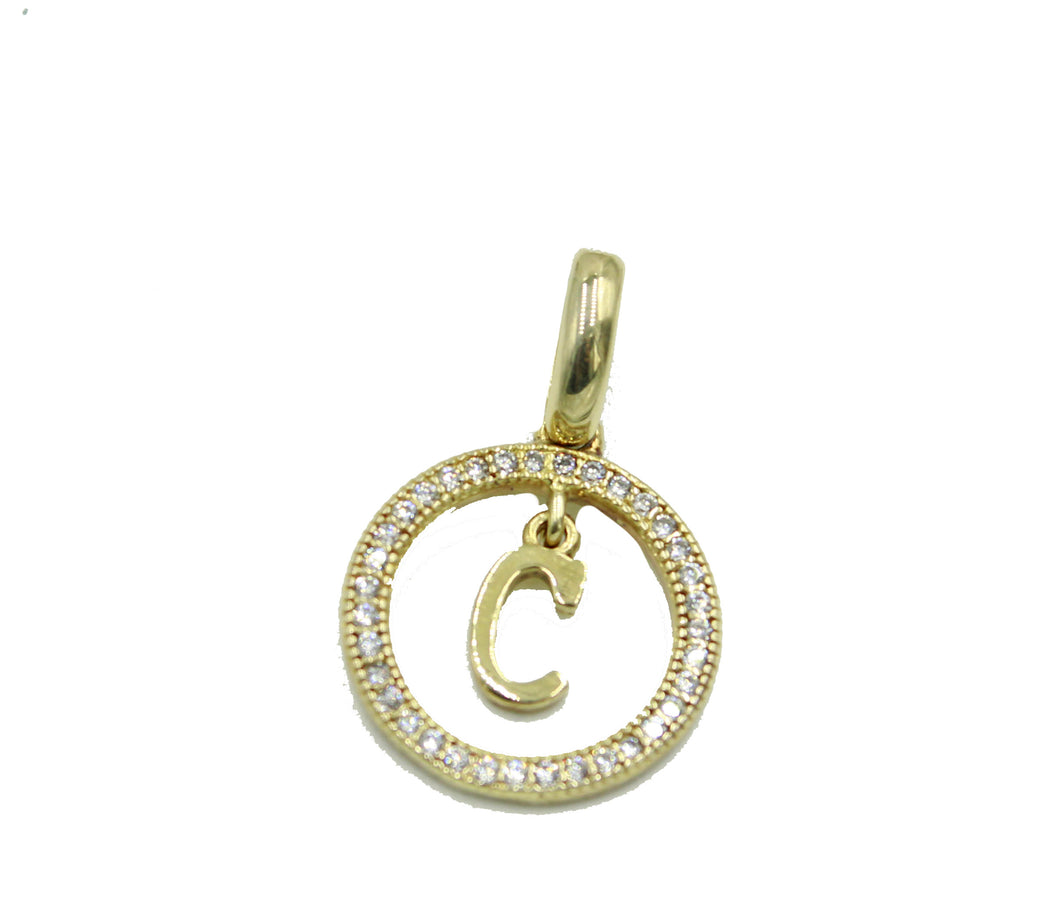 Initial Letter Necklace .925 Sterling Silver with 20 inch Chain Gold Plated
