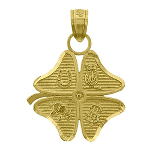 Clover 4 Leaf Lucky Pendant 14k Yellow Gold - 4 Leaf  Clover 14k Gold Charm
