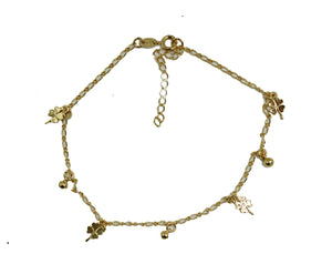 Clover Luck Anklet Foot Chain 18K Gold Plated  Adjustable - Clover Anklet
